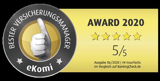 Juni 2020: 4te Auszeichnung in Folge!
